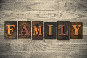 "35466920 - the word ""family"" written in wooden letterpress type."