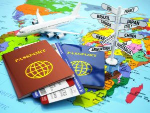 38652736 - travel or tourism concept. passport, airplane, airtickets and destination sign on the map. 3d