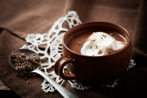 40611713 - hot chocolate with a hint of lavender